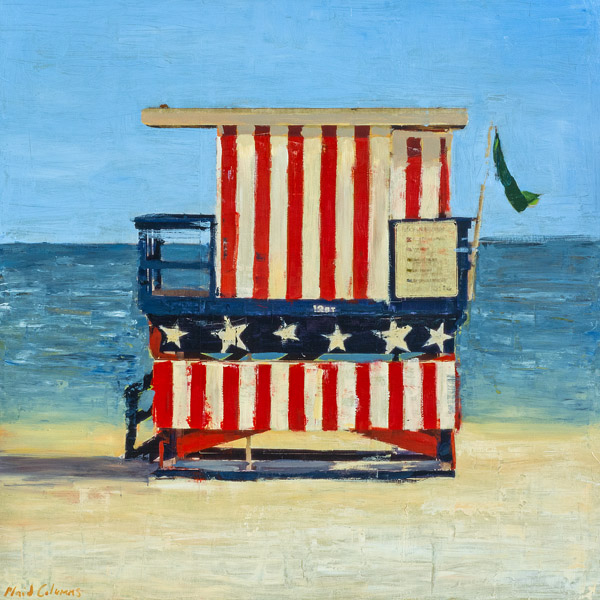 PLAID COLUMNS    Stars & Stripes by The Sea  mixed media on panel 48 x 48 inches $5200