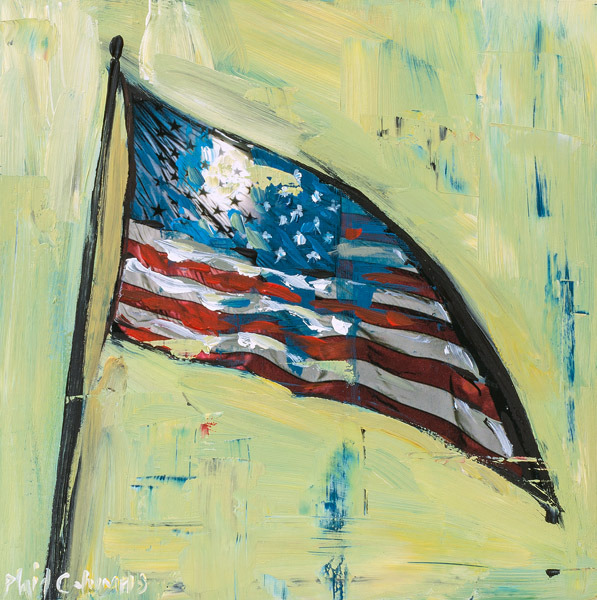 Stars & Stripes<br>mixed media on panel<br>10 x 10 inches