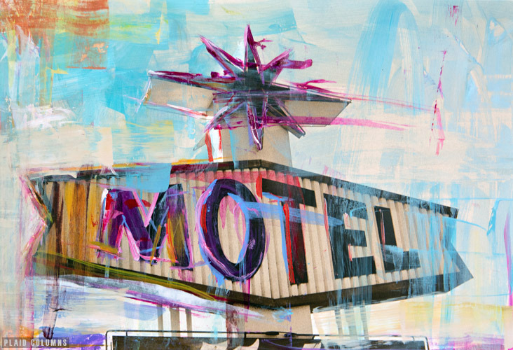 Motel<br>mixed media on paper<br>8 x 12 inches