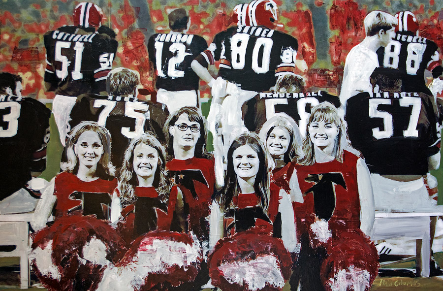 Go Falcons!<br>mixed media on panel<br>46 x 70 inches