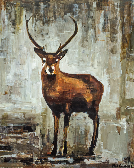 Deer<br>mixed media on panel<br>60 x 48 inches