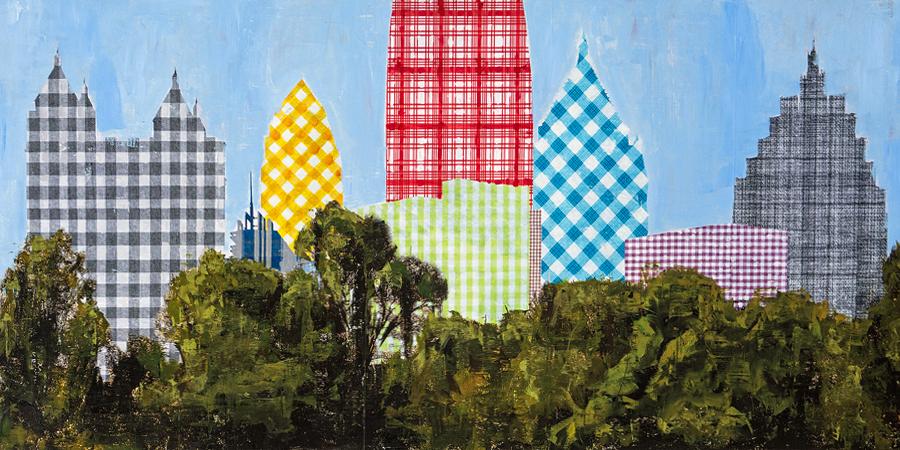 PLAID COLUMNS   Plaid Atlanta mixed media on panel 30 x 60 inches