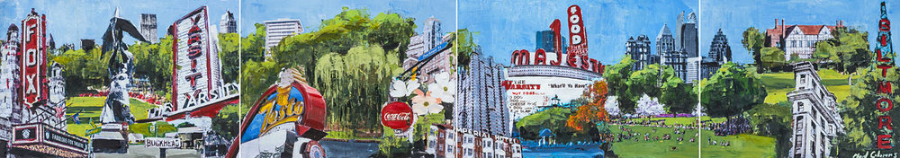 Atlanta Montage<br>mixed media on paper<br>12 x 69 inches