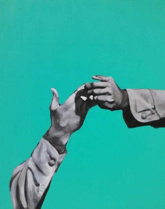 The Creation of Adam<br>(or the Lighting of a Cigarette)<br>acrylic on canvas<br>60 x 48 inches