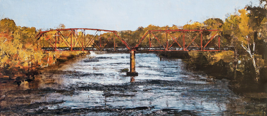 The Flint<br>mixed media on panel<br>26 x 60 inches
