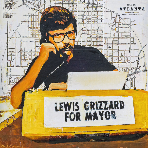 PLAID COLUMNS   Grizzard For Mayor mixed media on panel 36 x 36 inches