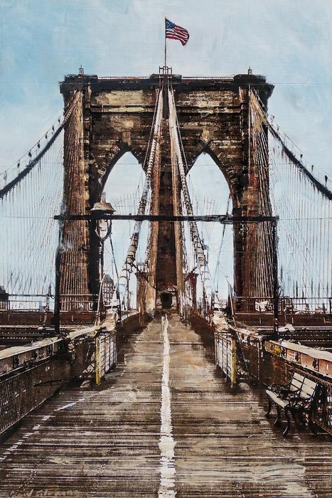 Brooklyn Bridge<br>mixed media on panel<br>36 x 24 inches