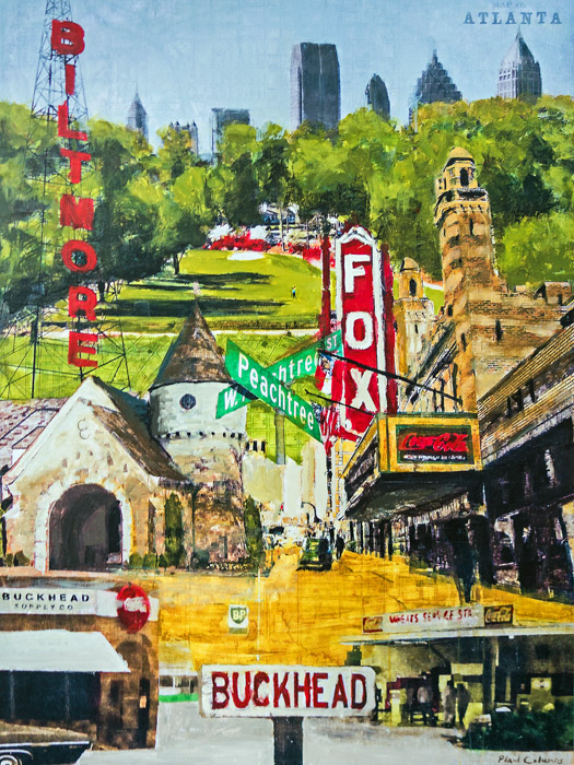 Atlanta Montage<br>mixed media on panel<br>60 x 45 inches
