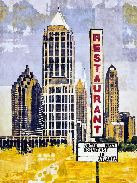 Best Breakfast In Town<br>mixed media on panel<br>48 x 36 inches
