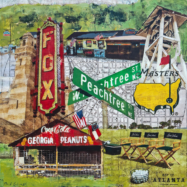 Classic Georgia Montage<br>mixed media on panel<br>35 x 35 inches