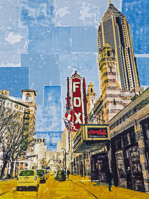 The Fox Theatre<br>mixed media on panel<br>48 x 36 inches
