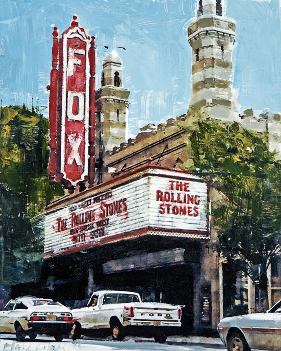 Rolling Stones at The Fox<br>mixed media on panel<br>20 x 16 inches