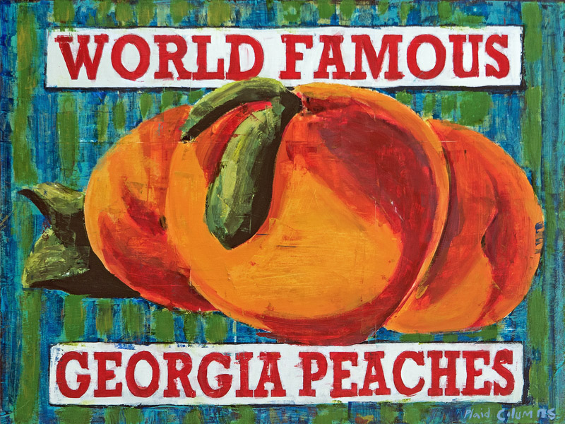 Georgia Peaches<br>mixed media on panel<br>30 x 40 inches