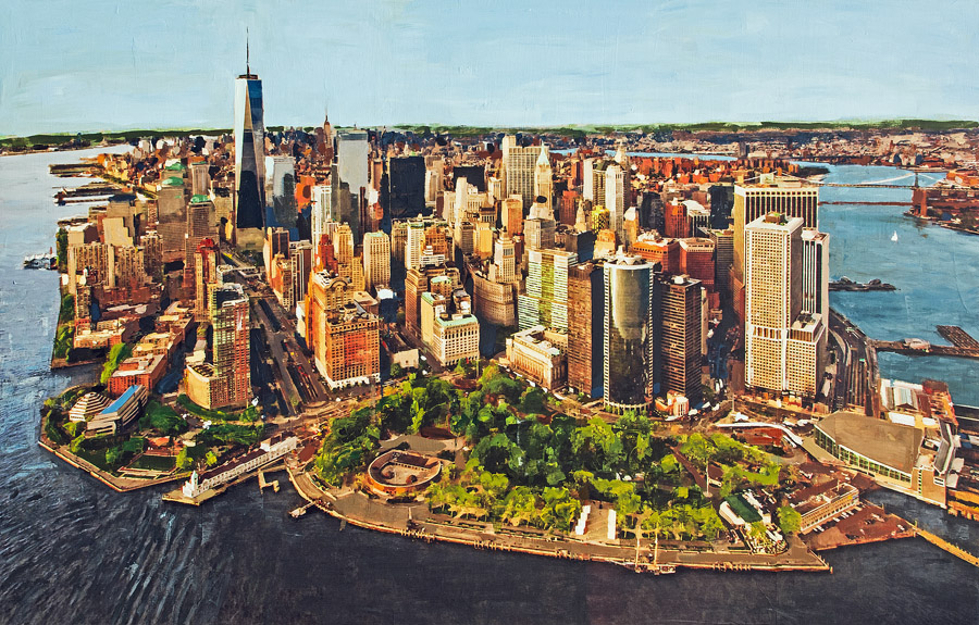 Manhattan<br>mixed media on panel<br>46 x 72 inches