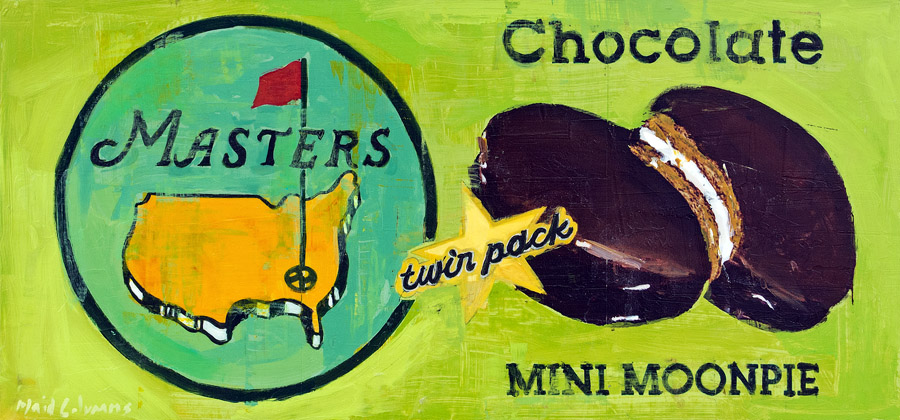 Masters Moonpie<br>mixed media on panel<br>14 x 30 inches