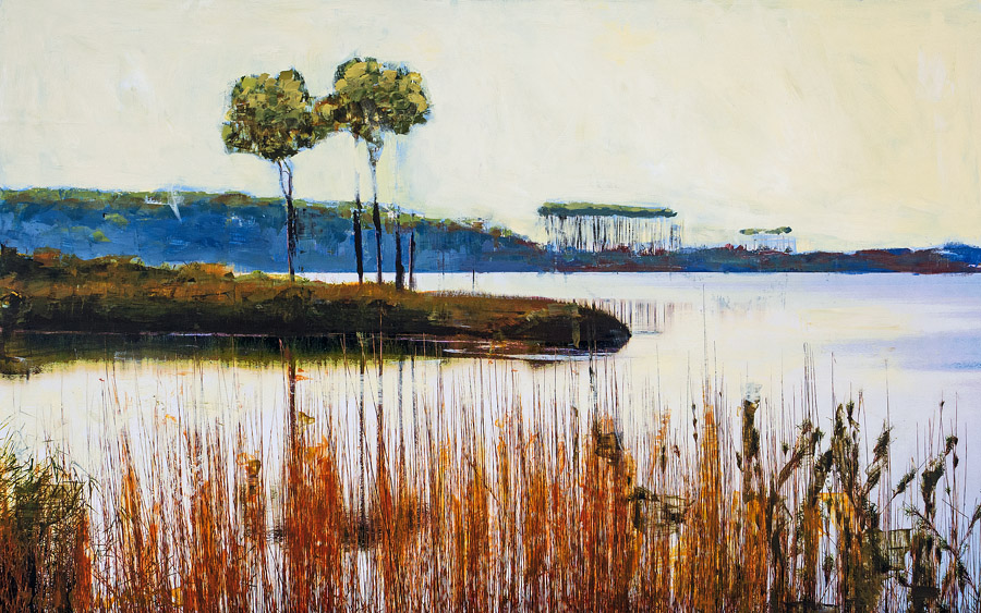 Western Lake<br>mixed media on panel<br>30 x 48 inches