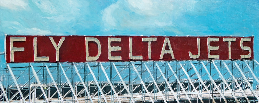 Fly Delta Jets<br>mixed media on panel<br>20 x 50 inches