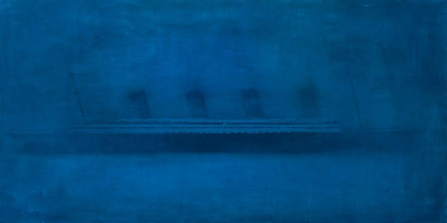Evan Jones   The Titanic In ice oil on panel 48 x 96 inches