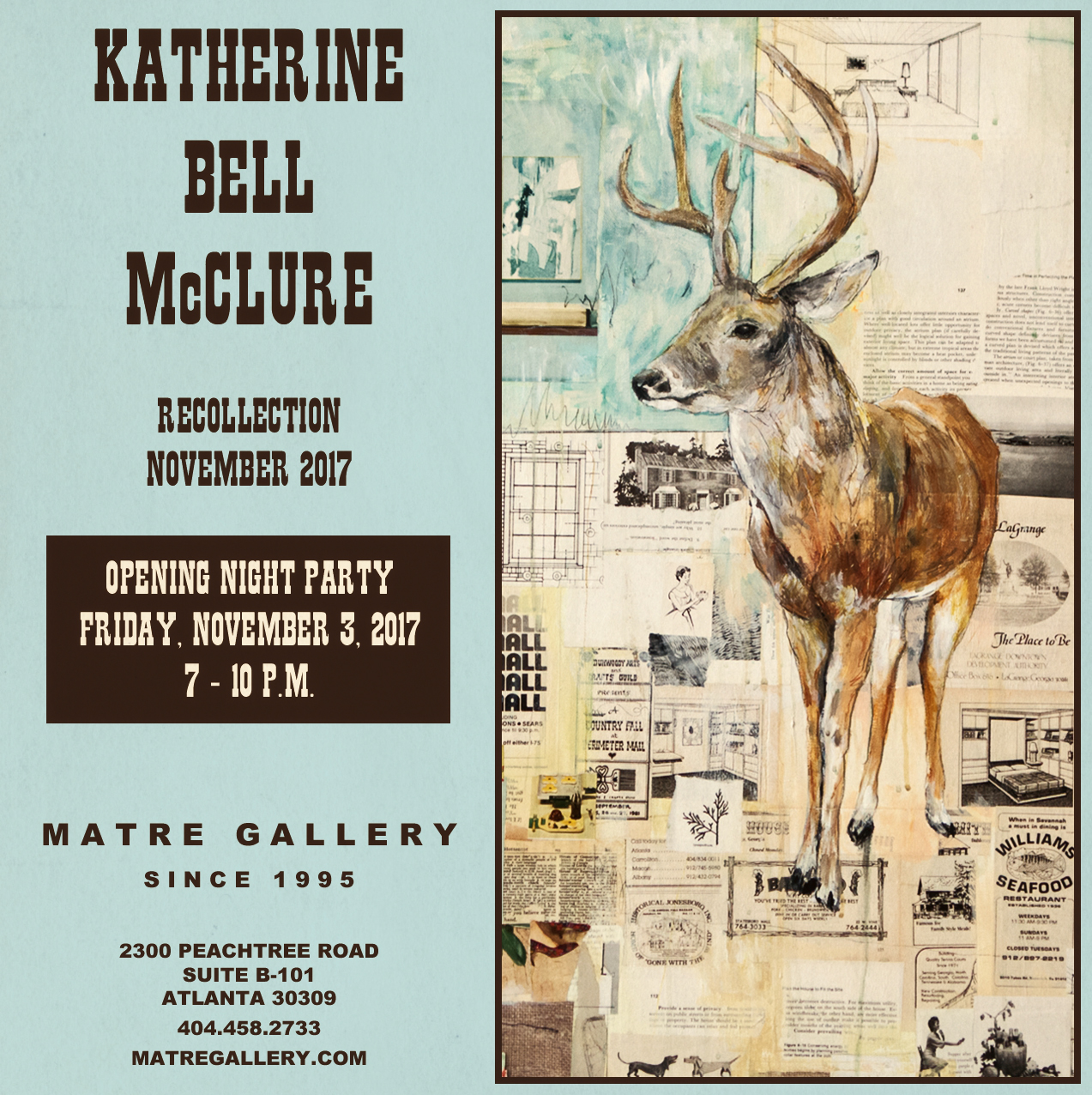KATHERINE BELL McCLURERecollection - NOVEMBER 3 - 25, 2017Opening ReceptionFriday, November 3, 20177 - 10 p.m.View Works
