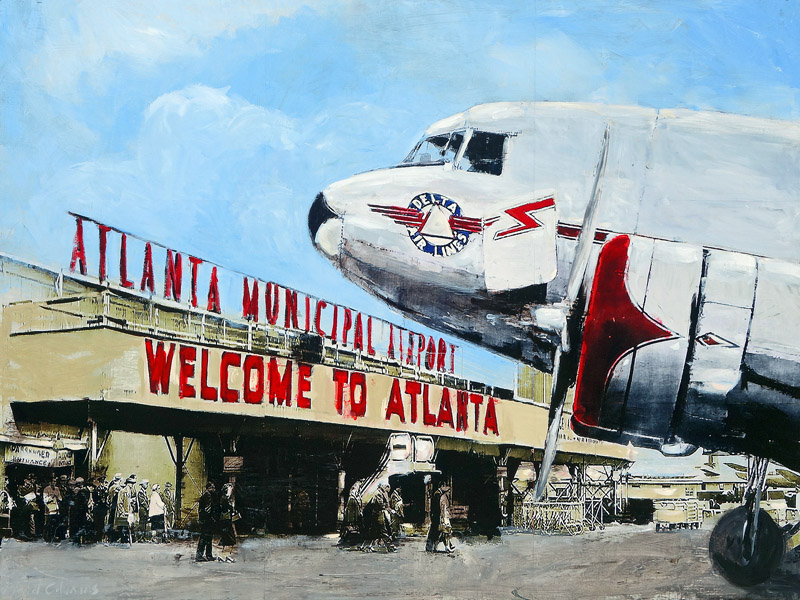 Welcome To Atlanta<br>mixed media on panel<br>36 x 48 inches