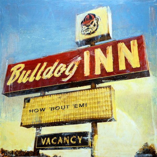 Bulldog Inn<br>mixed media on panel<br>18 x 18 inches