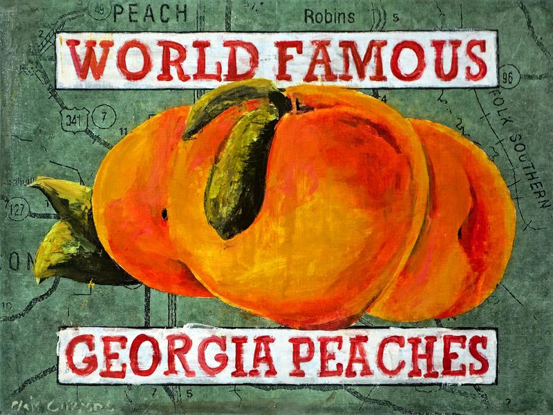 PLAID COLUMNS   Georgia Peaches mixed media on panel 18 x 24 inches $1500