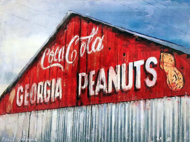 PLAID COLUMNS    Georgia Peanuts  mixed media on panel 18 x 24 inches $1500