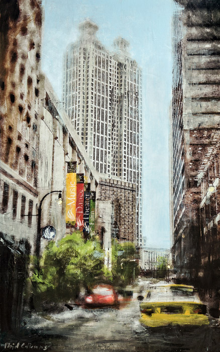 Plaid Columns   Forsyth Street  mixed media on panel 48 x 32 inches