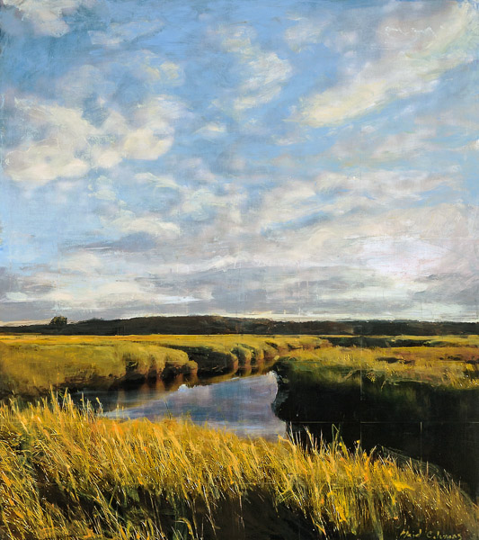 Big Sky Marsh<br>mixed media on panel<br>54 x 48 inches
