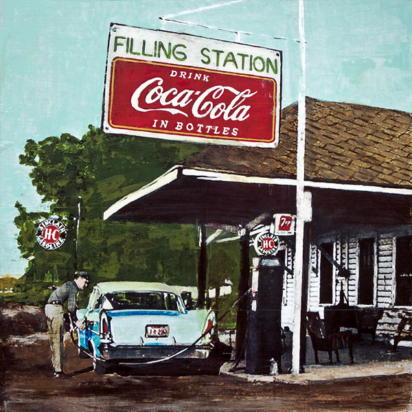 Filling Station<br>mixed media on panel<br>24 x 24 inches