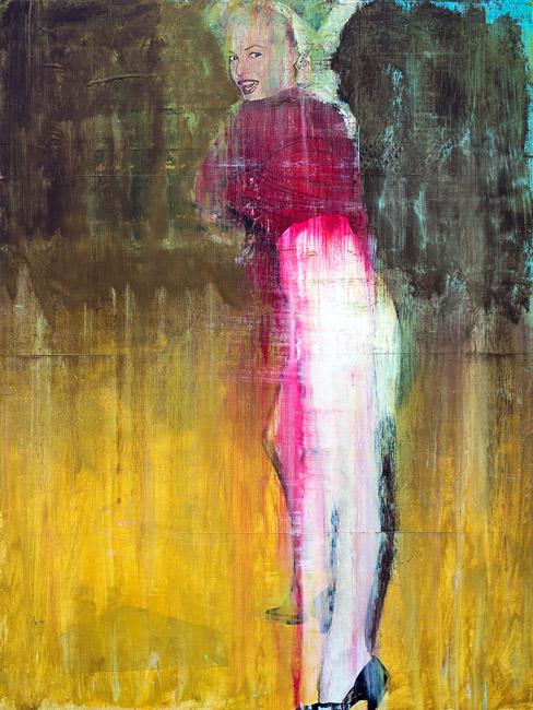 PLAID COLUMNS    Marilyn at Bat  mixed media on panel 24 x 18 inches $1500