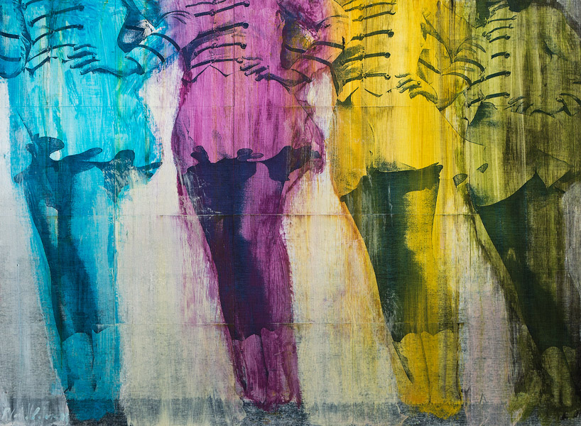 PLAID COLUMNS    Twirlers  mixed media on panel 22 x 30 inches $2500