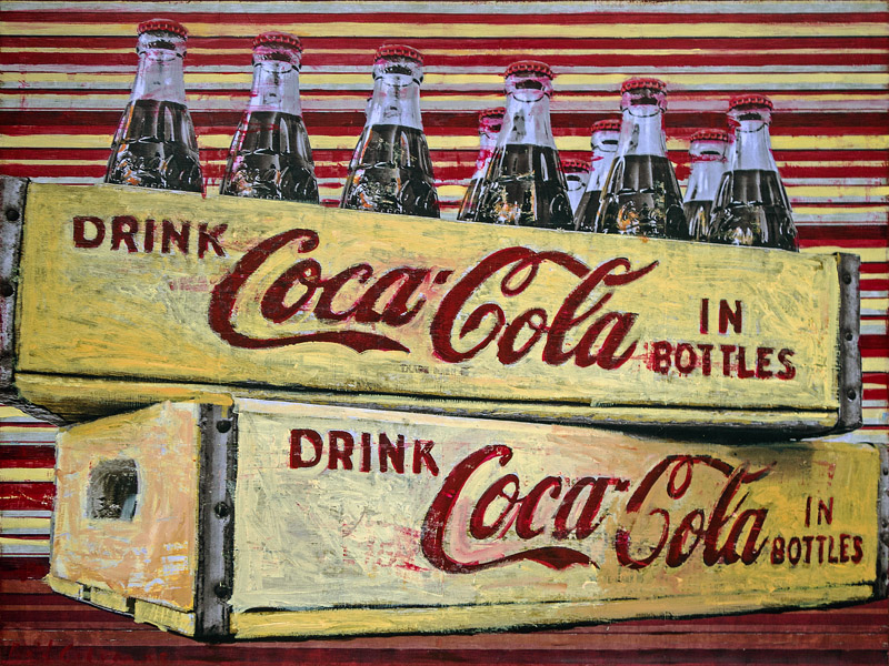 Plaid Columns   Coca-Cola In Bottles mixed media on panel 30 x 40 inches