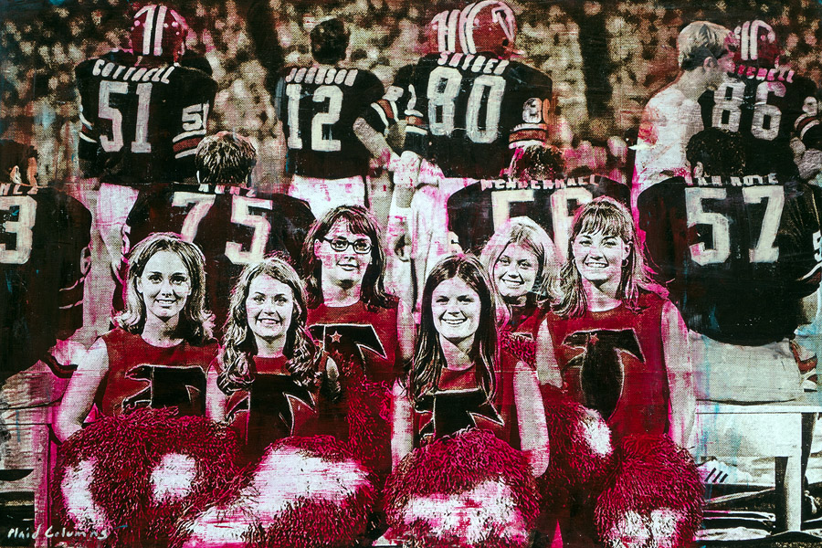 PLAID COLUMNS   Go Falcons! mixed media on canvas 24 x 36 inches