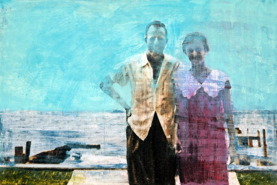 Plaid Columns   Eugene & Eugenia Honeymoon, 1955 mixed media on panel 24 x 36 inches