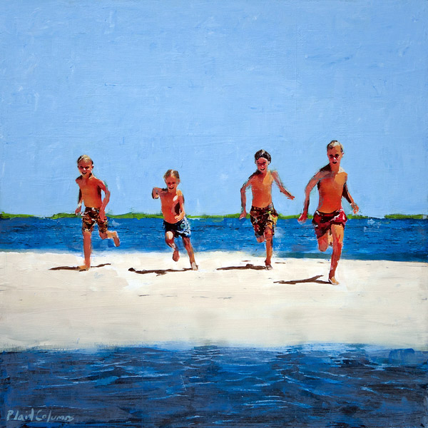 Plaid Columns   Beach Runners mixed media on panel 24 x 24 inches