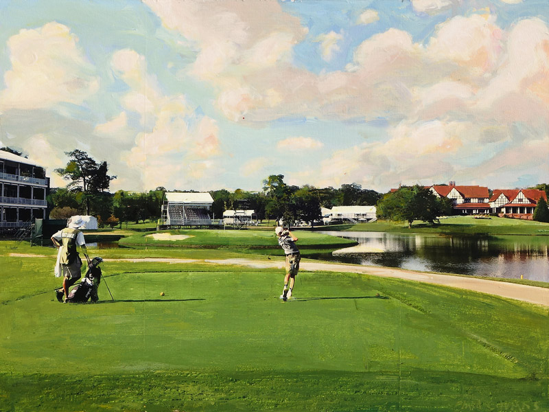 Plaid Columns   Hole In One! The 15th at East Lake mixed media on panel 18 x 24 inches