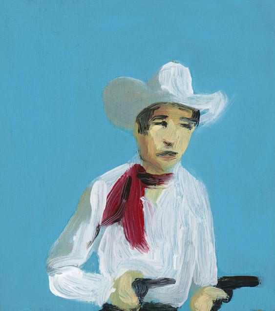 EVAN JONES   Roy Rogers  acrylic on paper 5 x 4 inches