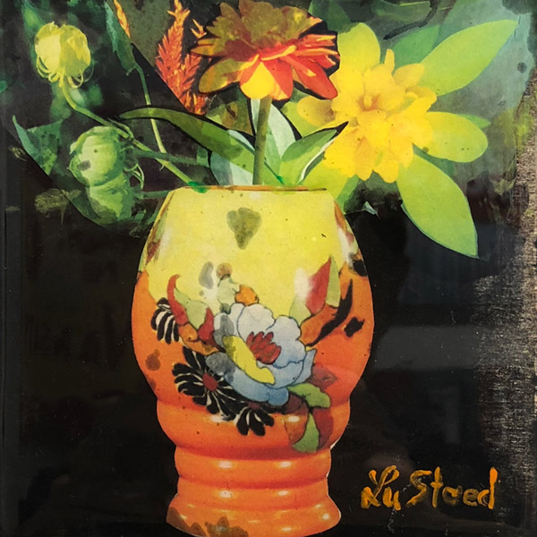 LU STEED  Flowers No. 2 mixed media on panel 5 x 5 inches