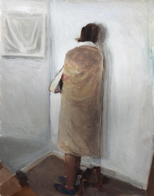 EVAN JONES   Katie as Joseph Beuys  acrylic on paper 11 x 14 inches
