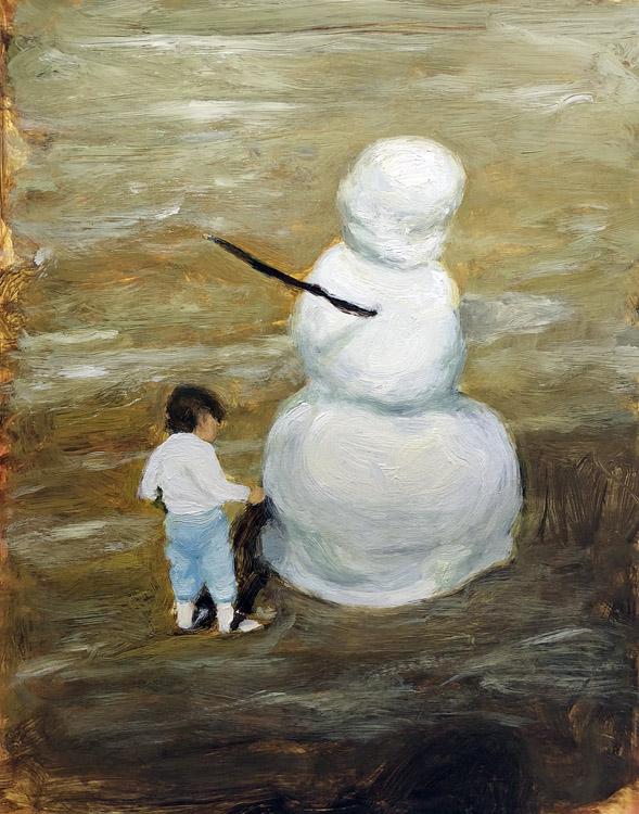 EVAN JONES   Snowman & My Cousin  acrylic on paper 14 x 11 inches