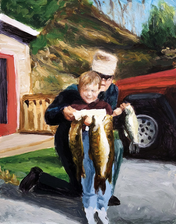EVAN JONES   Grandpa, Me & Fish  acrylic on paper 14 x 11 inches