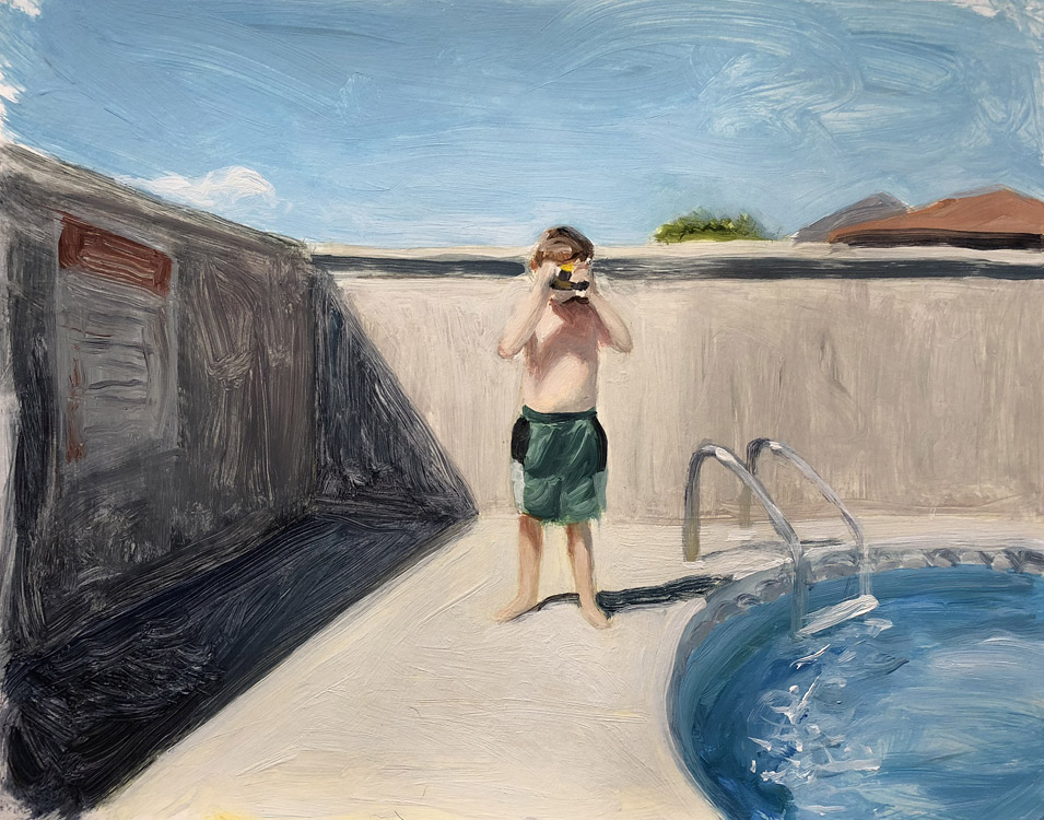 EVAN JONES   Self-Portrait By The Pool  acrylic on paper 11 x 14 inches