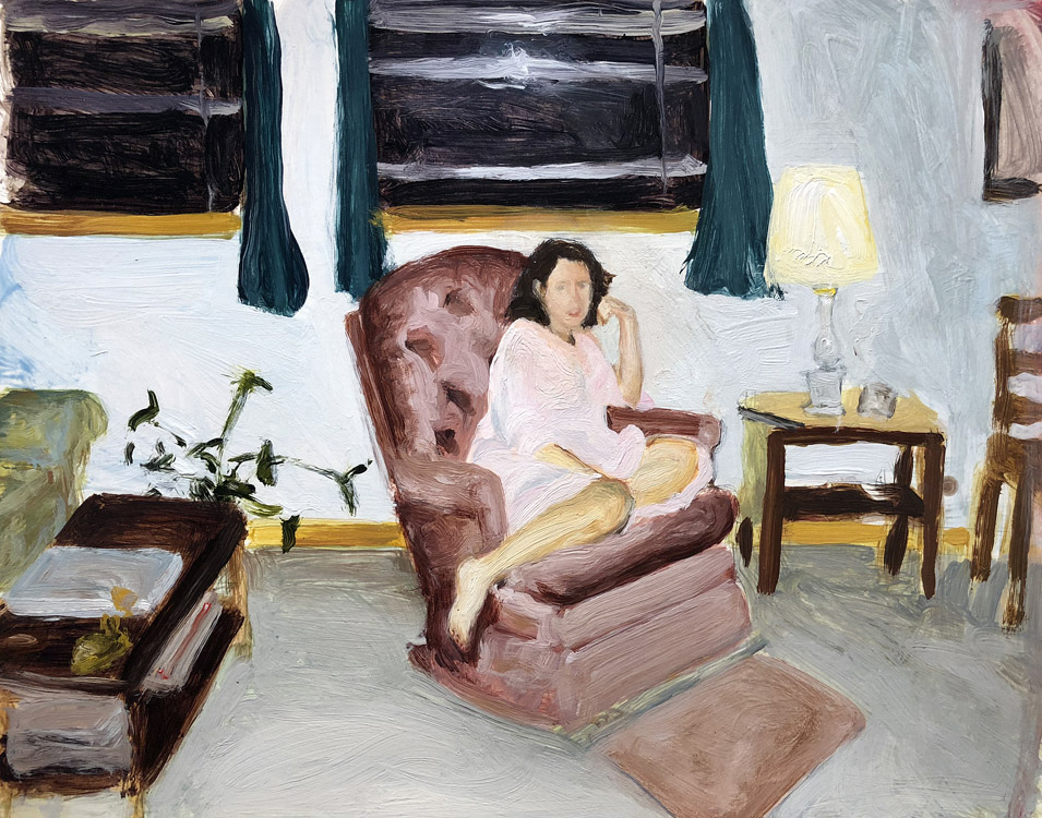 EVAN JONES   Mom  acrylic on paper 14 x 11 inches