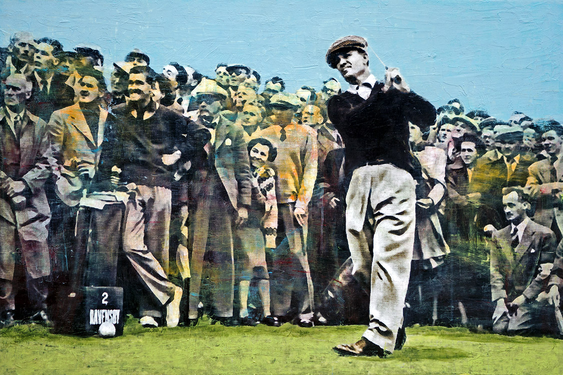 PLAID COLUMNS     Ben Hogan at Carnoustie 1953 British Open mixed media on panel 30 x 45 inches