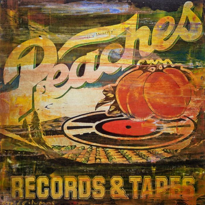 PLAID COLUMNS    Peaches  mixed media on panel 18 x 18 inches $1200