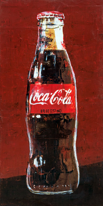 PLAID COLUMNS    Coke Bottle  mixed media on panel 24 x 12 inches $1200