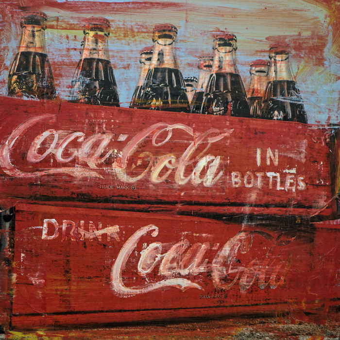 PLAID COLUMNS    Coca-Cola In Bottles  mixed media on panel 12 x 12 inches