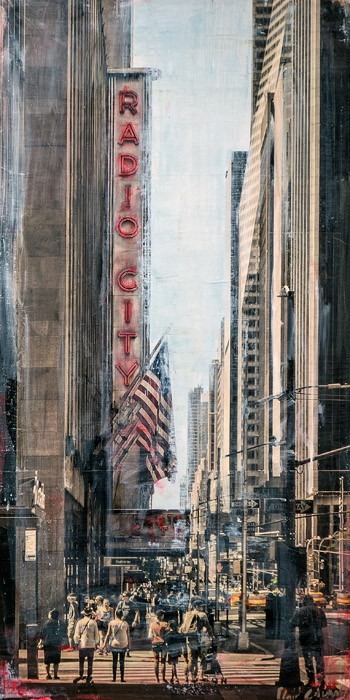 PLAID COLUMNS    Radio City  mixed media on panel 36 x 18 inches $2800
