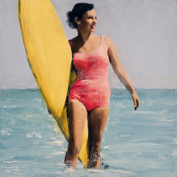 PLAID COLUMNS    Surfer Girl No. 2  mixed media on panel 19 x 19 inches $1800